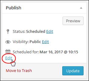 Publish section - Edit