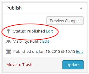 Post status: 'Published'