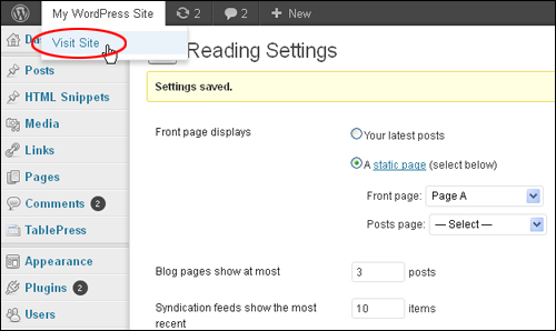 How To Select A Specific Page As The Site's Home Page In WordPress