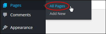 WP Dashboard - Pages Menu - All Pages