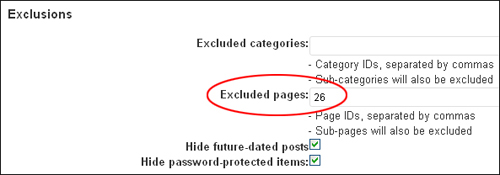 Preventing posts or pages from appearing in a site map