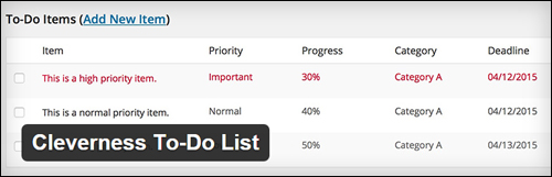 Cleverness to-do lists plugin WP