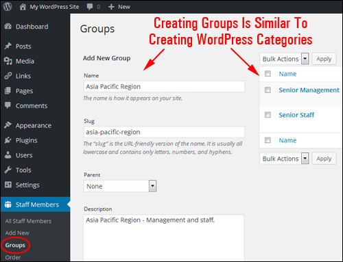 Groups are like WordPress categories