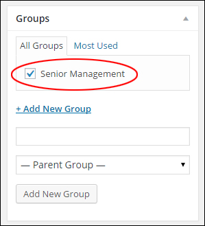 New group added via Groups box