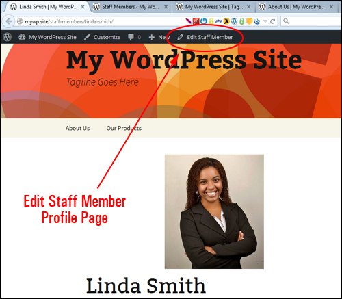 Edit Staff Member link - admin toolbar