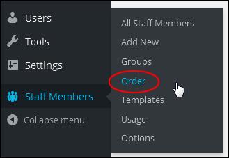 Staff Members Menu - Order