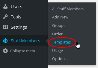 Staff Members Menu - Templates