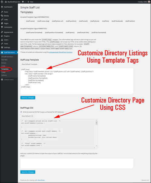Customize your directory template