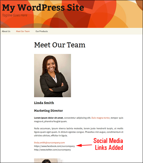 Employee profiles with social media URLs added