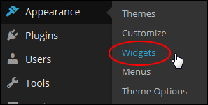 Appearance Menu - Widgets