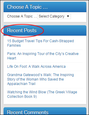 Recent Posts widget on sidebar