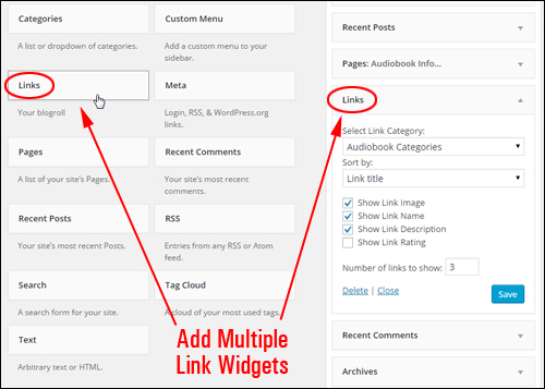 Add Multiple WordPress Links Widgets To Your Sidebar Navigation Menu