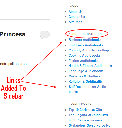 Links added to WordPress sidebar navigation menu