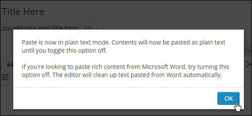 Paste as Text popup message