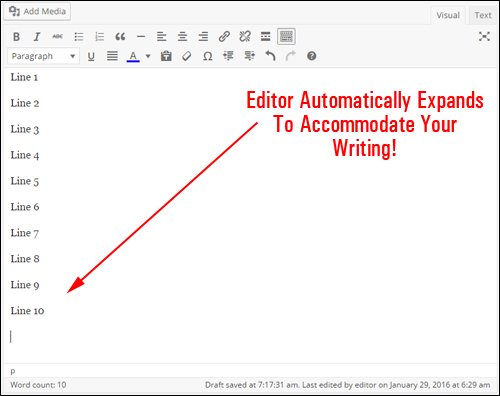Your WordPress content area should automatically expand as you type