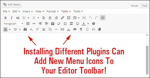 Plugins can add extra options to your editor