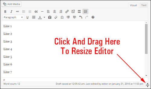 Resize your content editor using drag and drop