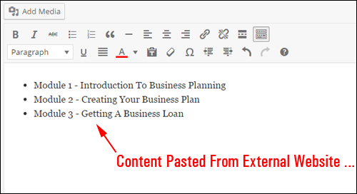 Content pasted directly from external websites ...