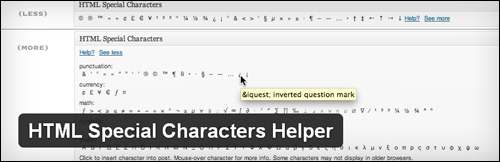 HTML Special Characters Helper plugin for WordPress