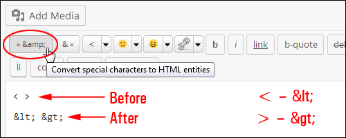 Convert special characters to HTML entities functionality