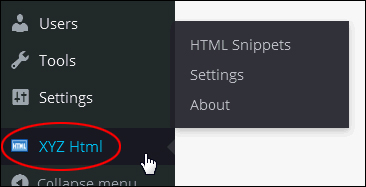 XYZ Html plugin menu