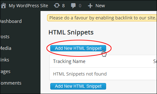 Click on the 'Add New HTML Snippet' button to create a new shortcode