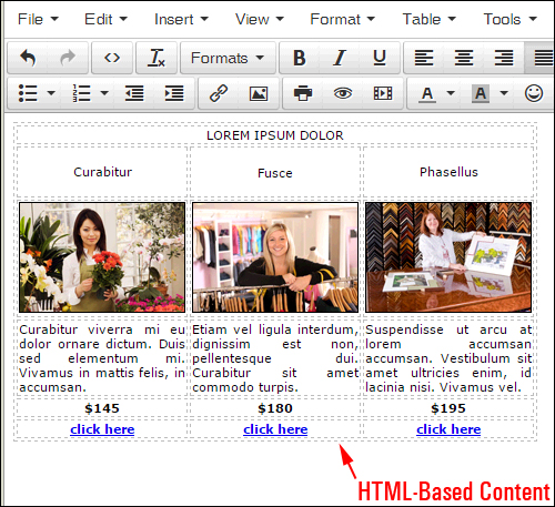 Use a simple HTML editor or HTML templates to create your HTML code