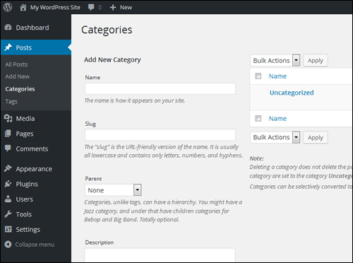 WordPress Post Categories Section