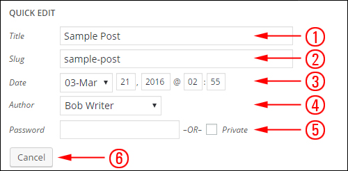 WordPress Post Settings - Quick Edit Screen