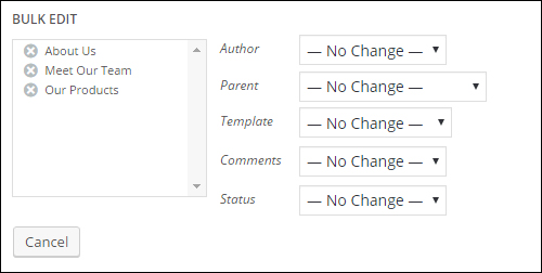 Quick Edit - Page editing options