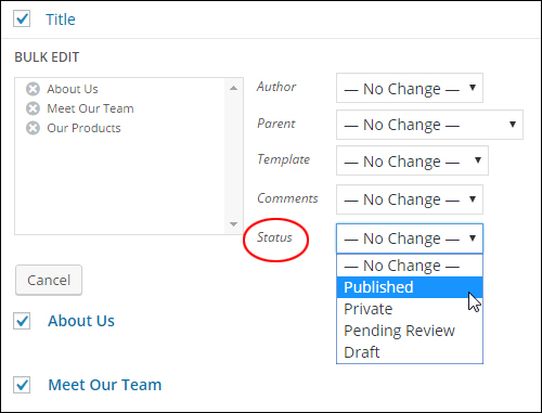 Bulk editor settings