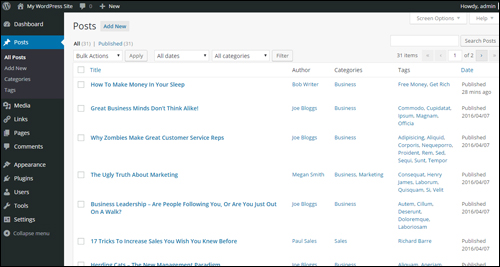 WordPress Posts section