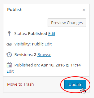 Edit Posts screen - Post Publish box