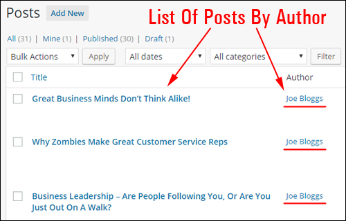 You can display a list of all posts authored by a user