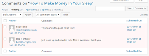 Manage comments left on your posts by visitors and users in the Comments section