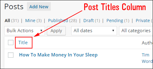 WordPress Posts page - Title column