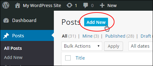Add, edit, and delete posts in the Posts area