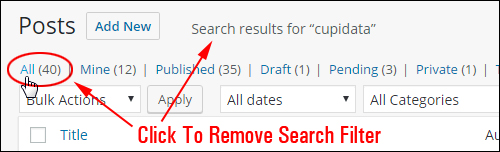 Click the 'All' link to clear the results of the search filter