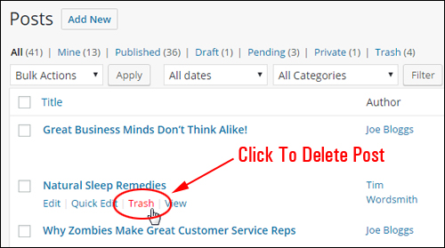 WordPress Post management options - Deleting your post
