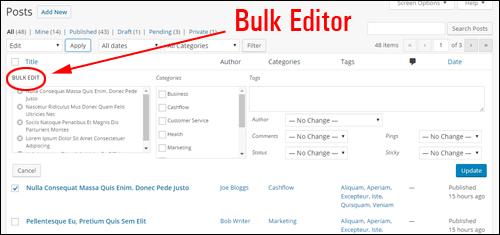 Bulk edit feature