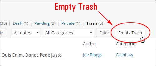 Trash management - EmptyTrash