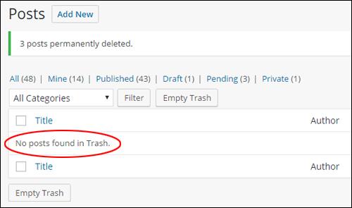 Trash management - Permanently deleting posts