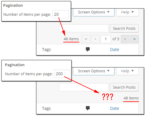 Pagination feature