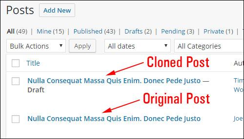 Cloned post