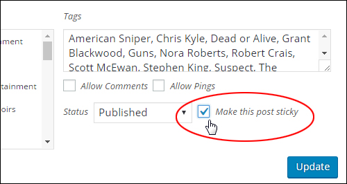 Inline editor settings - 'Make this post sticky'