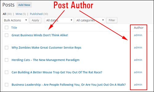 Posts screen - Post Author