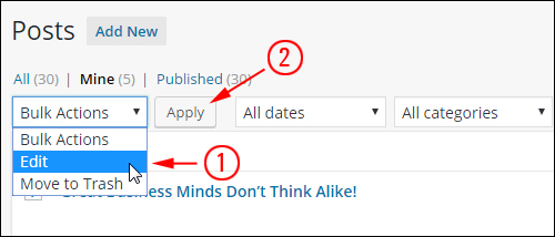Posts - 'Bulk Actions' drop-down menu