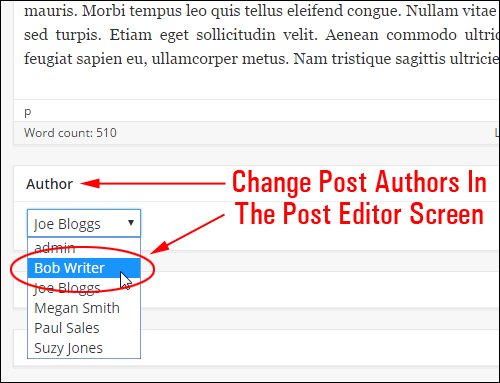Changing post authors in the Post editor area
