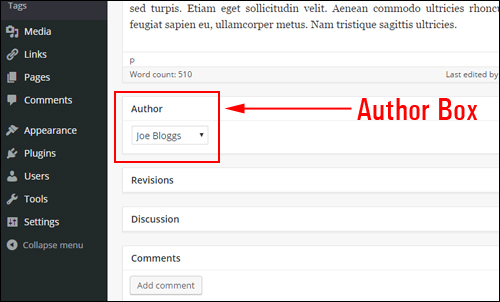 'Author' drop menu