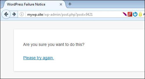 Failure Notice - WordPress